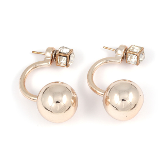 976cee209 Back to Products. Home. Golden acrylic ball with crystal cube double sided  ear jackets earrings