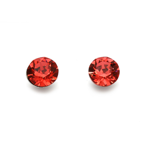 Indian red Austrian crystal stud earrings with Sterling Silver posts and backs