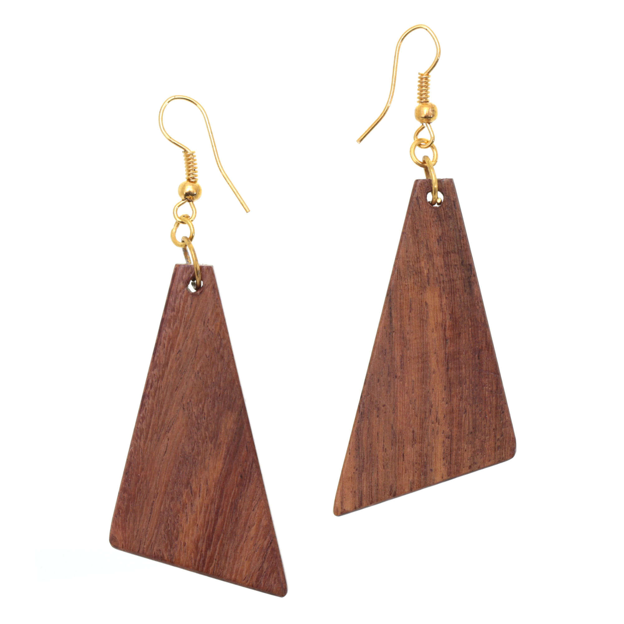 Triangular Drop Earrings Made From Sheesham Wood 7cm Length